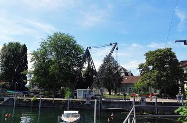 Crane at Lindau Harbour on Lake Constance Germany